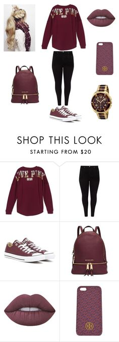 """""""Untitled #26"""" by essiebernadette on Polyvore featuring Victoria's Secret, Studio 8, Converse, Michael Kors, Lime Crime and Tory Burch"""