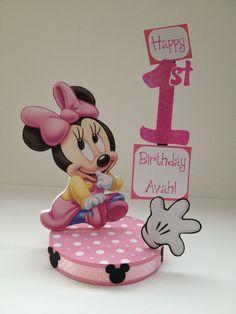 Baby Minnie Mouse Custom Birthday Party Centerpiece via Etsy
