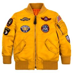 Alpha Nylon Youth Flight Jacket w/Patches Leather Flight Jacket, Flight Bomber Jacket, Varsity Jacket Outfit, Ma 1 Jacket, Alpha Industries Ma 1, Swag Outfits Men, Fashion Outfits, American Flag Patch, Yellow Fashion