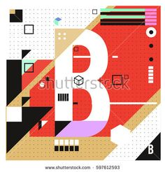 Vector Letter B Memphis style geometrical color outline font. Graphical decorative type. Template for poster design.