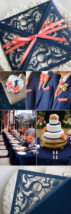 Navy blue and coral pink wedding colors ideas with invitation