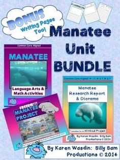 Create a complete LEARNING UNIT about MANATEES! **Includes 4 SETS: *1: Manatee Language Arts & Math Activities Common Core Aligned: to deepen your unit and provide additional learning centers with the Manatee Theme.http://www.teacherspayteachers.com/Product/Manatee-Language-Arts-Math-Activities-Common-Core-Aligned-1241408 *2: Manatee Research Report & Diorama Project Common Core Alignedhttp://www.teacherspayteachers.com/Product/Manatee-Research-Report-Diorama-Project-Common-Co...