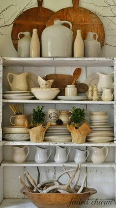 Faded charm.........TIMEWASHED, ceramic display, open shelving,