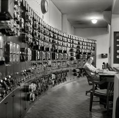 "September 1940. Control room, waterworks. Conduit Road, Washington, D.C. Glass enclosed relays. Commonly known as ""fish bowls"" Have seen several still in service at various utilities."