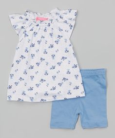 Look at this Blue Floral Angel-Sleeve Top & Shorts on #zulily today!