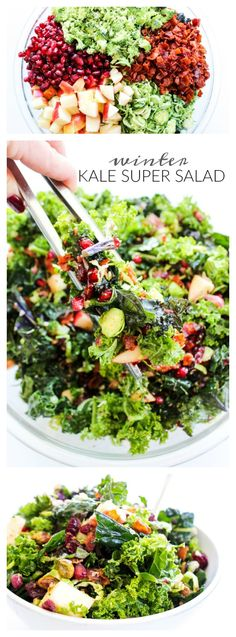 Winter Kale Super Salad - A Dash of Sanity salad recipes tossed; Kale Recipes, Healthy Salad Recipes, Vegetarian Recipes, Cooking Recipes, Recipes Dinner, Recipes For A Crowd, Dash Diet Recipes, Vegetarian Salad, Salads For A Crowd