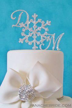 Snowflake wedding cake topper