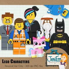 Lego Movie Characters Clipart Element Pack - Personal Use. Perfect for Scrapbooking or other crafty projects! Lego Movie Party, Lego Movie Birthday, Lego Film, Lego Classroom Theme, Lego Movie Characters, Lego Doctor Who, Movie Clipart, Lego Valentines, Used Legos