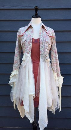 Upcycled Fancy fantasy dress jacket duster,40-Bust-46WHip 53L lacey dress jacket silk coat duster by KOOLHANDDESIGNS
