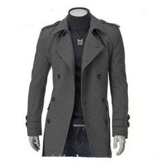 Double Breasted Wool Korean Long Jacket Men