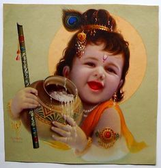Vintage religious print of Hindu God Baby Krishna Baby Krishna, Little Krishna, Krishna Leela, Cute Krishna, Radha Krishna Love, Bal Krishna Photo, Yashoda Krishna, Jai Shree Krishna, Radhe Krishna