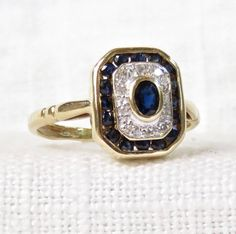 Vintage 14k Gold Diamond and Blue Sapphire by MagpieVintageJewelry