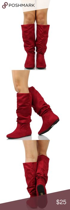 5c028a8f05377d Cherry Faux Suede Slouchy Knee High Flat Boot Your pair of go-to boots is