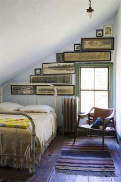 Great use of wall space in this attic bedroom.