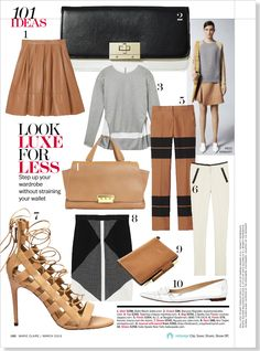 Camel skirt, grey sweater. Clipped from Marie Claire using Netpage.