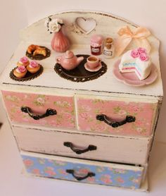 Romantic Shabby Chic Chest of drawers by ManthaCreaMiniatures