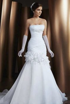 Hot Sale Mermaid Wedding Dresses 2015 Strapless Appliques Bridal Gowns with Train White Organza Vestidos De Noiva Luxury Wedding Dress, 2015 Wedding Dresses, Bridal Dresses, Wedding Gowns, Bridal Outfits, Wedding Events, Wedding Story, Beautiful Gowns, Dream Dress