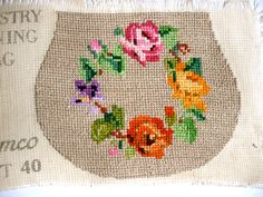 Vintage Worked Floral Embroidered Purse Canvas by TickleAndFinch