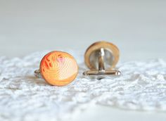 Hand painted round cuff links gift for him by MyPieceOfWood, $16.00