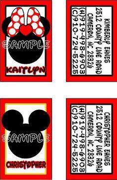 Custom Personalized Mickey Mouse Disney Luggage Tags!! Mickey & Minnie!