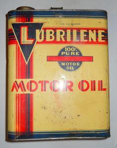 1940's Lubrilene Motor Oil 2 Gallon Oil Can by OtterCreekAntiques, $34.95