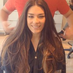 Super long dark brown hair to golden soft Ombre for Super star Dancer Caroline Blond, Sombre, Super Star, Color Correction, Haircolor, Brown Hair, Dark Brown, Dancer