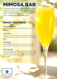 Wow your guests with a mimosa bar for weekend brunch, a bridal shower, baby shower or other springtime party. Birthday Brunch, Brunch Party, Brunch Wedding, Brunch Food, Birthday Breakfast, Brunch Menu, Wedding Parties, Wedding Breakfast, Sunday Brunch