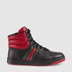 Gucci Cruise 2016 Children's leather web high-top Boy Fashion, Fashion Design, Boy Blue, Girls Shopping, Accessories Shop, Kids Boys, High Tops, High Top Sneakers, Cruise