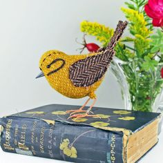 Tweed Fabric Bird Sculpture handmade figurine by TheCottonPotter
