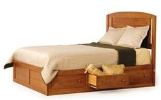 Amish Modern Platform Bed with Drawers