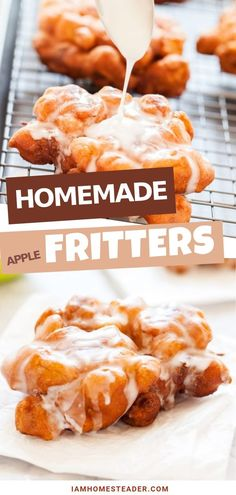 """""""Cakey"""" batter incorporated with juicy apples make these easy apple fritters the ultimate homemade dessert treat! The sweet glaze sends these fritters over the top and reminiscent of a stuffed funnel cake. This bread is definitely for breakfast too! Funnel Cake Recipe Easy, Homemade Funnel Cake, Homemade Desserts, Easy Cake Recipes, Homemade Cakes, Dessert Recipes, Homemade Recipe, Sweet Desserts, Breakfast Recipes"""