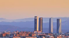 Skyline of Madrid with his four skyscrapers at dawn. you sell prints of Madrid Skyline, Seattle Skyline, Foto Madrid, Architecture Photo, San Francisco Skyline, Skyscraper, Colorado, Stock Photos, World