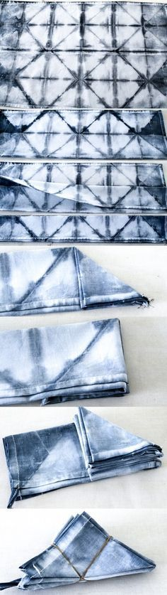 DIY Shibori folding tutorial, pillows and kitchen towels batiken, Shibori Fabric, Shibori Tie Dye, Shibori Techniques, Tie Dye Techniques, How To Tie Dye, How To Dye Fabric, Diy Vetement, Japanese Textiles, Fabric Manipulation