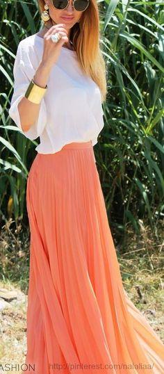 8d9b2d67d7 salmon skirt. Coral Maxi Skirts, Maxi Skirt Outfits, Dress Skirt, Coral  Skirt