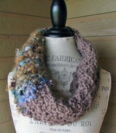 Hey, I found this really awesome Etsy listing at https://www.etsy.com/listing/193593706/taupe-infinity-scarf-cowl-hand-spun-art