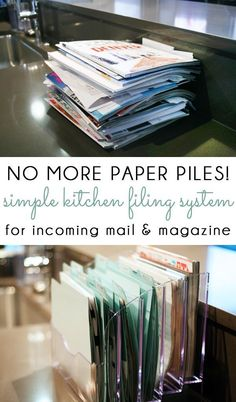 NO MORE PAPER PILES! Manage your incoming mail, kids school papers, catalogs and magazines with a simple kitchen counter filing system! #DecoratingKitchen