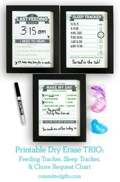 Dry Erase TRIO Printables: Newborn Feeding Tracker, Sleep Tracker, Cho | Committed