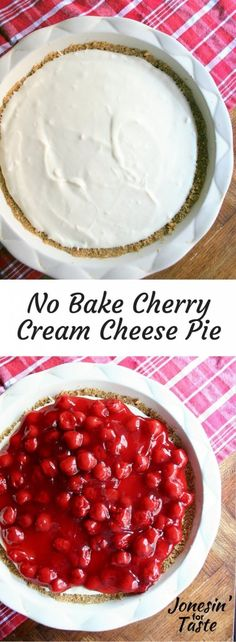 Easy no bake cherry cream cheese pie- a fantastic blend of creamy, tangy, and sweet.