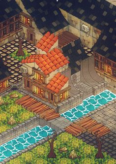 Testing isometric illustration, with tiles system, quite fun to do :-)
