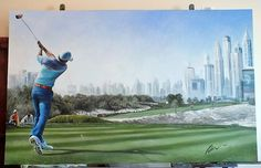 Rory McIlroy tees off at the 2015 Desert Classic 8th Hole. Final Round. Painting by Mark Robinson. www.robinsongolfart.com. All rights reserved.