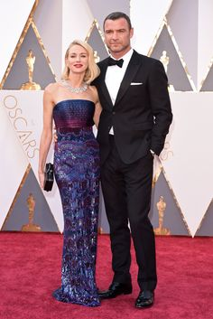 Naomi Watts, wearing an Armani Prive gown and Bulgari Jewels, and Live Schreiber on the 2016 Oscars Red Carpet