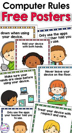 FREEBIE 7 Adorable Technology Rule posters to help your students remember best practices when handling iPads, chrome books and digital devices. #BoomCards #boomcardselementary #freeposters #backtoschool #TeacherFeatures #freeresources #GoogleClassroom #Go