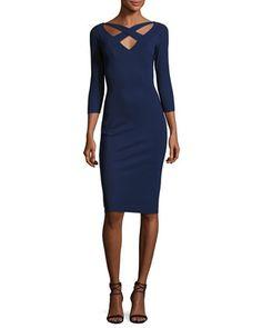 Clori+3/4-Sleeve+Cross-Front+Cocktail+Dress,+Navy+by+La+Petite+Robe+di+Chiara+Boni+at+Neiman+Marcus.