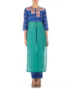 blue ikat with chanderi kurta with ikat pants thecitrine@yahoo.com shop online :http://www.exclusively.com/designers/citrine-by-poonam-bajaj
