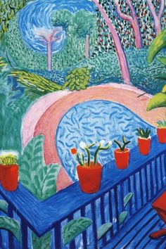 (UK) Red pots in the garden, 2000 by David Hockney ). oil on canvas. David Hockney Artwork, David Hockney Prints, Roy Lichtenstein Pop Art, Contemporary Abstract Art, Modern Art, David Hockney Photography, Pop Art Movement, Sketchbook Inspiration, Claes Oldenburg