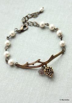 A Golden Pinecone Branch Twig Oxidized Brass Bracelet. Nature Inspired Bracelet.  $23.50, via Etsy.