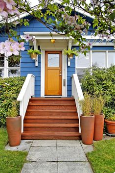 wooden front step designs the welcoming entryway is redefined with wide wood steps and landing - Front Steps Design Ideas