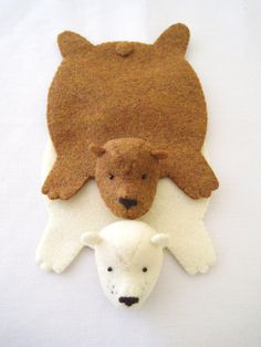 Bear Coaster Set Of Two By Dandyrions / Home Decor / Table Setting  Accessory / Felt Cup Coasters