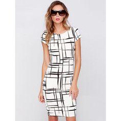 White Contrast Black Plaid Bodycon Dress (180 DKK) ❤ liked on Polyvore featuring dresses, black dress, vintage dresses, white dress, kohl dresses and tartan dress