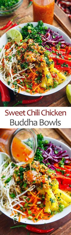 Thai Sweet Chili Chicken Buddha Bowls - List of the best food recipes Asian Recipes, New Recipes, Dinner Recipes, Cooking Recipes, Healthy Recipes, Recipies, Spinach Recipes, Sausage Recipes, Dessert Recipes